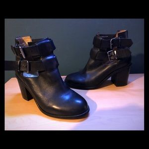 Office London cut out ankle buckle booties